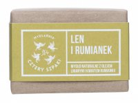 Mydlarnia Cztery Szpaki - Natural soap with linseed oil and chamomile flower - Linen and Camomile - 110 g
