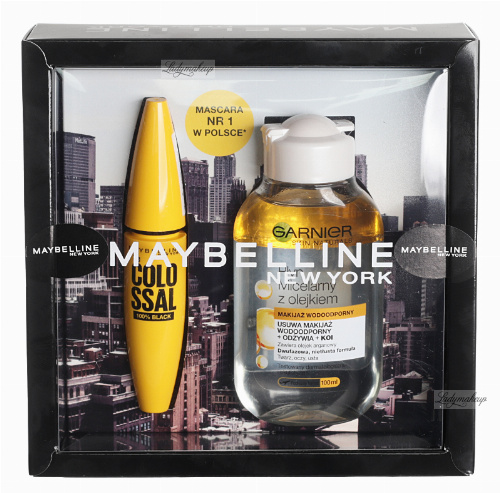 MAYBELLINE - Gift set of cosmetics - The Colossal ink + Garnier Micellar liquid with oil 100 ml