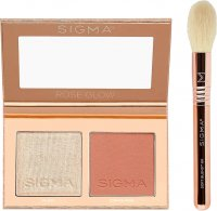 Sigma® - ROSE GLOW CHEEK DUO - HIGHLIGHTER + BLUSH WITH TRAVEL BRUSH - Contouring palette + brush SOFT BLEND ™ 60 - SET
