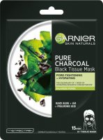 GARNIER - PURE CHARCOAL Black Tissue Mask - Cleansing mask on fabric with carbon