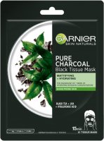 GARNIER - PURE CHARCOAL Black Tissue Mask - Cleansing mask on fabric with carbon - Mantując and moisturizing