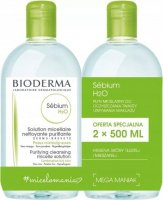 BIODERMA - Sebium H2O - Purifying Cleansing Micelle Solution - Set of 2 micellar lotions for oily and combination skin - 2x500 ml