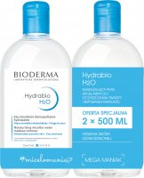 BIODERMA - Hydrabio H2O - Moisturizing Micellar Water Makeup Remover - Set of 2 moisturizing micellar lotions for cleansing and make-up removal - 2x500 ml