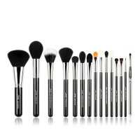 JESSUP - Essential Brushes Set - Set of 15 brushes for face and eye make-up - T092 Black / Silver
