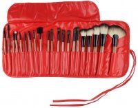 Delfa - Set of 21 make-up brushes + case (RED)