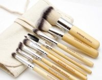 LancrOne - SUNSHADE MINERALS - Set of 9 make-up brushes + natural flax case
