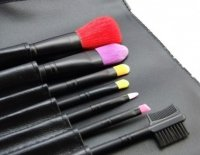 LancrOne - Butterfly Collection - Set of 7 colorful make-up brushes + case