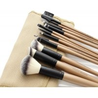 LancrOne - SUNSHADE MINERALS - Set of 12 make-up brushes - no. 2 + natural flax case