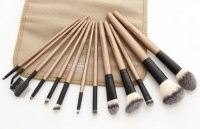 LancrOne - SUNSHADE MINERALS - Set of 13 make-up brushes - No. 2 + natural flax case