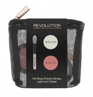 MAKEUP REVOLUTION - HANDBAG #HACKS STROBE, LIGHT AND CHEEK - Make up set in a case - highlighter, blush and brush