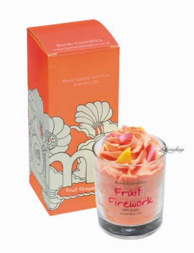 Bomb Cosmetics - FRUIT FIREWORK Piped Candle with Pure Mandarin & Orange Essential Oils