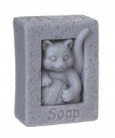 LaQ - Happy Soaps - Natural Glycerin Soap - GRAY CAT WITH A BALL OF WOOL