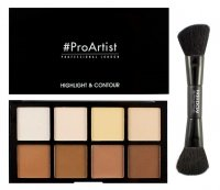 FREEDOM- HD HIGHLIGHTER AND CONTOUR SET WITH DOUBLE ENDED BRUSH - 8 highlighters and bronzers + brush