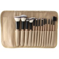 LancrOne - SUNSHADE MINERALS - Set of 13 make-up brushes + natural flax case - 13/4