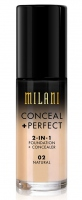 MILANI - CONCEAL + PERFECT - 2-IN-1 FOUNDATION + CONCEALER  - 02 - NATURAL - 02 - NATURAL