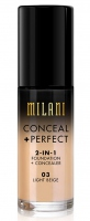 MILANI - CONCEAL + PERFECT - 2-IN-1 FOUNDATION + CONCEALER  - 03 - LIGHT BEIGE - 03 - LIGHT BEIGE