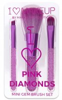 I ♡ Makeup - I ♡ Pink Diamonds - MINI GEM BRUSH SET - Set of 3 make-up brushes