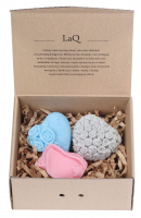 LaQ - Happy Soaps - Set of 3 natural glycerin soaps - BLUE HEART, PINK HEART, ROSE