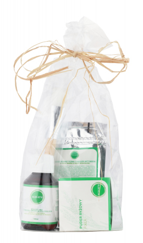 Ecocera - GIFT SET NO.6 - Mask with activated charcoal (50 g) + Brush + Concentrate with copper and colloidal silver + Loose rice powder
