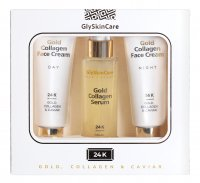 GlySkinCare - 24K GOLD, COLLAGEN & CAVIAR - Face Care Gift Set- Night cream 50 ml + Serum with gold 50 ml + Day cream 50 ml