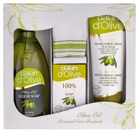 Dalan d`Olive - OLIVE OIL - Gift set of care cosmetics - Moisturizing olive liquid soap 400 ml + 100% olive soap bar + Olive, moisturizing body and hand cream 75 ml
