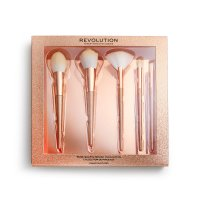 MAKEUP REVOLUTION - PRECIOUS STONE - BRUSH COLLECTION - Set of 5 make-up brushes - ROSE QUARTZ