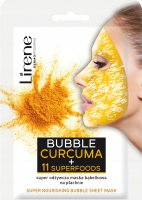 Lirene - NOURISHING BUBBLE SHEET MASK - CURCUMA + 11 SUPERFOODS - Super nutritious bubble mask on a sheet