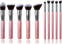 JESSUP - Kabuki Brushes Set - Set of 10 make-up brushes - T068 Pink / Silver