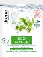 Lirene - ECO POWER - SEBO-REGULATING & NORMALIZING SHEET MASK - Mask in a sheet regulating the secretion of sebum with broccoli sprouts and chamomile