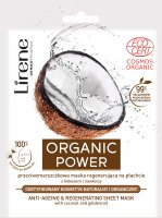 Lirene - ORGANIC POWER - Anti-wrinkle regenerating mask on a sheet with coconut and goldenrod