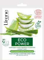 Lirene - ECO POWER - MOISTURIZING & SOOTHING SHEET MASK - Moisturizing and soothing mask in a sheet with aloe and rice
