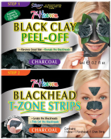 7th Heaven (Montagne Jeunesse) - Duo Peel Off - Black Clay + Blackhead T-Zone Strips - Facial Cleansing Kit - Black Clay Mask + T-Zone Strips Blackhead T-Zone Strips