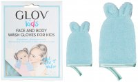 GLOV - Kids - FACE AND BODY WASH GLOVES FOR KIDS - Set of 2 cleaning gloves for baby's face and body - Bouncy Blue