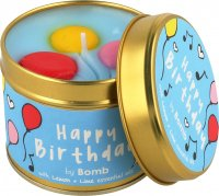 Bomb Cosmetics - Happy Birthday Tinned Candle - Hand made scented candle with essential oils - BIRTHDAY